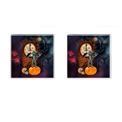 Funny Mummy With Skulls, Crow And Pumpkin Cufflinks (square) by FantasyWorld7