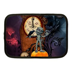 Funny Mummy With Skulls, Crow And Pumpkin Netbook Case (medium)  by FantasyWorld7