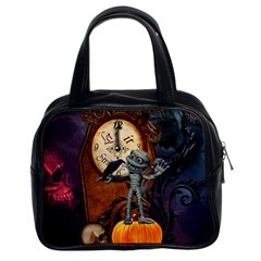 Funny Mummy With Skulls, Crow And Pumpkin Classic Handbags (2 Sides) by FantasyWorld7