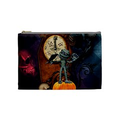 Funny Mummy With Skulls, Crow And Pumpkin Cosmetic Bag (medium)  by FantasyWorld7