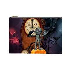 Funny Mummy With Skulls, Crow And Pumpkin Cosmetic Bag (large)  by FantasyWorld7