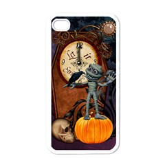 Funny Mummy With Skulls, Crow And Pumpkin Apple Iphone 4 Case (white) by FantasyWorld7
