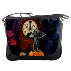 Funny Mummy With Skulls, Crow And Pumpkin Messenger Bags by FantasyWorld7