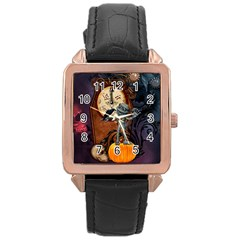 Funny Mummy With Skulls, Crow And Pumpkin Rose Gold Leather Watch  by FantasyWorld7