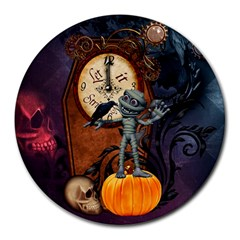 Funny Mummy With Skulls, Crow And Pumpkin Round Mousepads by FantasyWorld7