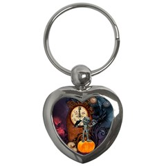 Funny Mummy With Skulls, Crow And Pumpkin Key Chains (heart)  by FantasyWorld7