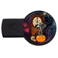 Funny Mummy With Skulls, Crow And Pumpkin Usb Flash Drive Round (2 Gb) by FantasyWorld7