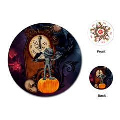 Funny Mummy With Skulls, Crow And Pumpkin Playing Cards (round)  by FantasyWorld7