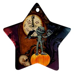 Funny Mummy With Skulls, Crow And Pumpkin Star Ornament (two Sides) by FantasyWorld7