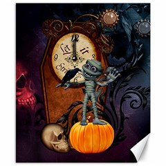 Funny Mummy With Skulls, Crow And Pumpkin Canvas 8  X 10  by FantasyWorld7