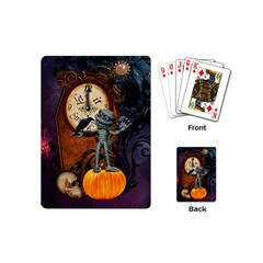 Funny Mummy With Skulls, Crow And Pumpkin Playing Cards (mini)  by FantasyWorld7