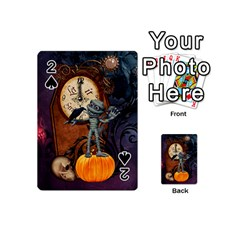 Funny Mummy With Skulls, Crow And Pumpkin Playing Cards 54 (mini)  by FantasyWorld7
