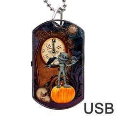 Funny Mummy With Skulls, Crow And Pumpkin Dog Tag Usb Flash (one Side) by FantasyWorld7