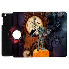Funny Mummy With Skulls, Crow And Pumpkin Apple Ipad Mini Flip 360 Case by FantasyWorld7