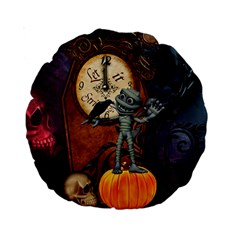 Funny Mummy With Skulls, Crow And Pumpkin Standard 15  Premium Round Cushions by FantasyWorld7