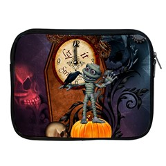 Funny Mummy With Skulls, Crow And Pumpkin Apple Ipad 2/3/4 Zipper Cases by FantasyWorld7