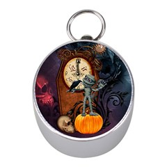 Funny Mummy With Skulls, Crow And Pumpkin Mini Silver Compasses by FantasyWorld7