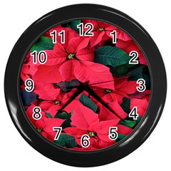 Red Poinsettia Flower Wall Clocks (black) by Mariart