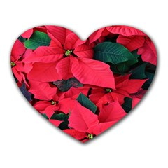 Red Poinsettia Flower Heart Mousepads by Mariart