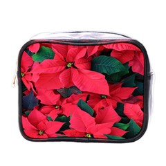Red Poinsettia Flower Mini Toiletries Bags by Mariart