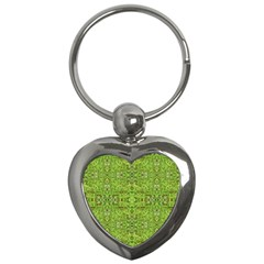 Digital Nature Collage Pattern Key Chains (heart)  by dflcprints