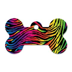 Rainbow Zebra Dog Tag Bone (one Side) by Mariart