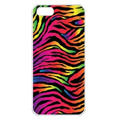 Rainbow Zebra Apple Iphone 5 Seamless Case (white) by Mariart