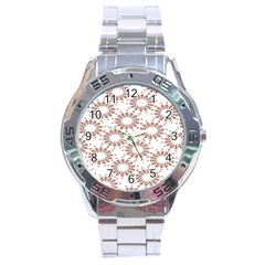 Pattern Flower Floral Star Circle Love Valentine Heart Pink Red Folk Stainless Steel Analogue Watch by Mariart