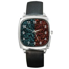 Square Pheonix Blue Orange Red Square Metal Watch by Mariart