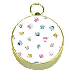 Tea Cup Mug Dringking Yellow Blue Grey Polka Dots Gold Compasses by Mariart