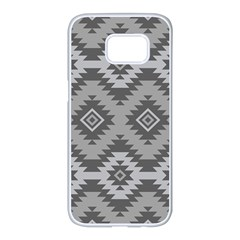 Triangle Wave Chevron Grey Sign Star Samsung Galaxy S7 Edge White Seamless Case by Mariart