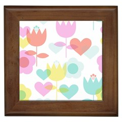 Tulip Lotus Sunflower Flower Floral Staer Love Pink Red Blue Green Framed Tiles by Mariart