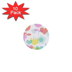 Tulip Lotus Sunflower Flower Floral Staer Love Pink Red Blue Green 1  Mini Buttons (10 Pack)  by Mariart