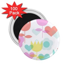Tulip Lotus Sunflower Flower Floral Staer Love Pink Red Blue Green 2 25  Magnets (100 Pack)  by Mariart