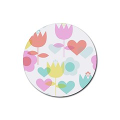 Tulip Lotus Sunflower Flower Floral Staer Love Pink Red Blue Green Rubber Round Coaster (4 Pack)  by Mariart