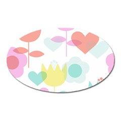 Tulip Lotus Sunflower Flower Floral Staer Love Pink Red Blue Green Oval Magnet by Mariart