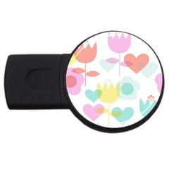 Tulip Lotus Sunflower Flower Floral Staer Love Pink Red Blue Green Usb Flash Drive Round (2 Gb) by Mariart