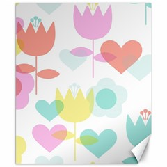 Tulip Lotus Sunflower Flower Floral Staer Love Pink Red Blue Green Canvas 8  X 10  by Mariart