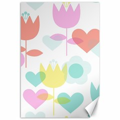 Tulip Lotus Sunflower Flower Floral Staer Love Pink Red Blue Green Canvas 12  X 18   by Mariart
