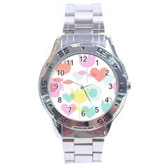 Tulip Lotus Sunflower Flower Floral Staer Love Pink Red Blue Green Stainless Steel Analogue Watch by Mariart