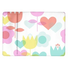 Tulip Lotus Sunflower Flower Floral Staer Love Pink Red Blue Green Samsung Galaxy Tab 10 1  P7500 Flip Case by Mariart