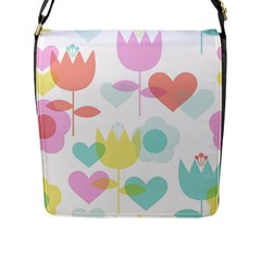 Tulip Lotus Sunflower Flower Floral Staer Love Pink Red Blue Green Flap Messenger Bag (l)  by Mariart