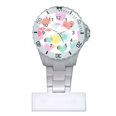 Tulip Lotus Sunflower Flower Floral Staer Love Pink Red Blue Green Plastic Nurses Watch by Mariart