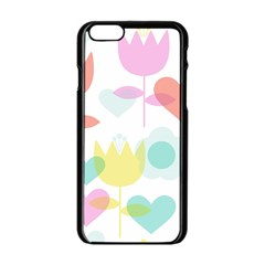 Tulip Lotus Sunflower Flower Floral Staer Love Pink Red Blue Green Apple Iphone 6/6s Black Enamel Case by Mariart