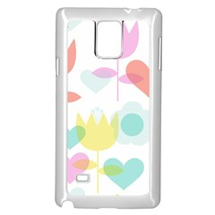 Tulip Lotus Sunflower Flower Floral Staer Love Pink Red Blue Green Samsung Galaxy Note 4 Case (white) by Mariart