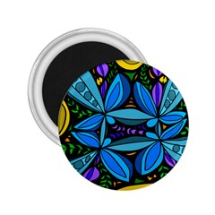 Star Polka Natural Blue Yellow Flower Floral 2 25  Magnets