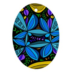 Star Polka Natural Blue Yellow Flower Floral Ornament (oval) by Mariart