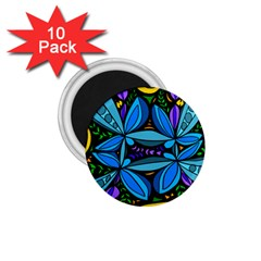 Star Polka Natural Blue Yellow Flower Floral 1 75  Magnets (10 Pack)  by Mariart