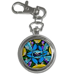 Star Polka Natural Blue Yellow Flower Floral Key Chain Watches by Mariart