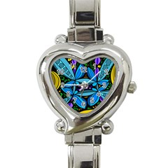 Star Polka Natural Blue Yellow Flower Floral Heart Italian Charm Watch by Mariart